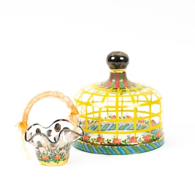 MacKenzie-Childs Glass Cheese Dome and Floral Rose Basket