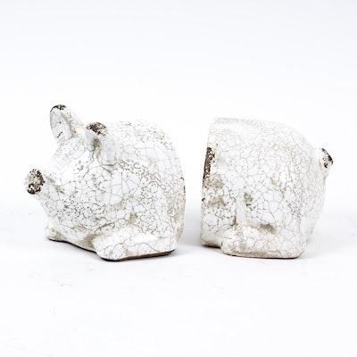 Terracotta Pig Bookends