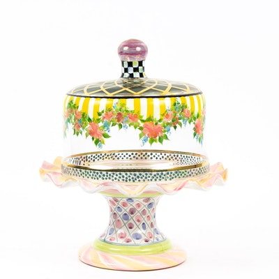 "MacKenzie-Childs ""Striped Awning"" Cake Dome with ""Taylor"" Cake Stand"