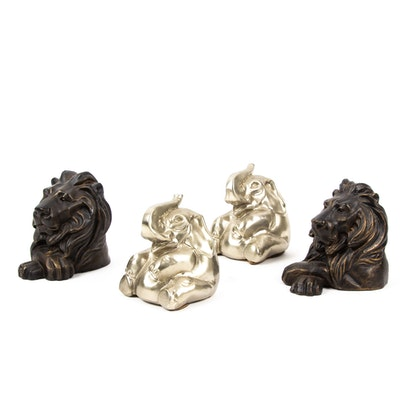 Elephant and Lion Bookends Including Philadelphia Craftsman, Contemporary