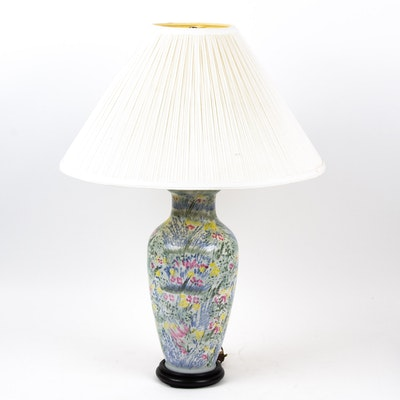 Polychrome Floral Ceramic Floral Table Lamp