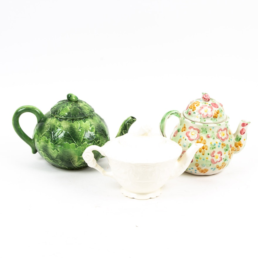Italian and Other Ceramic Floral Teapots