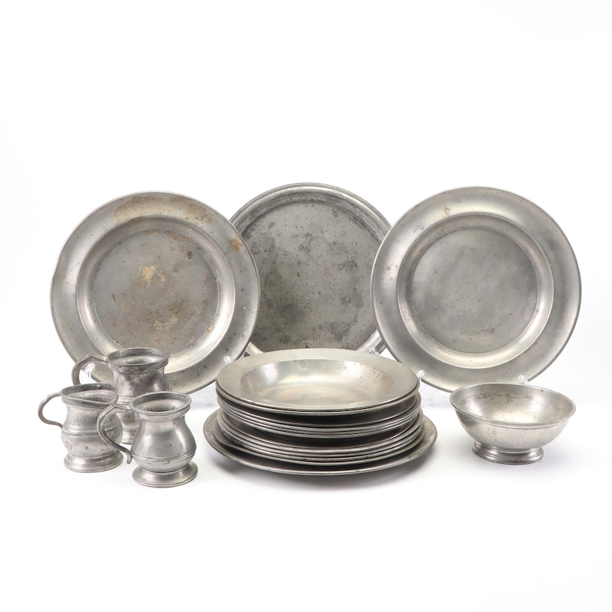Ironclad HMS Hero Pewter Mess Bowl, 19th C. with Pewter Dinnerware Collection