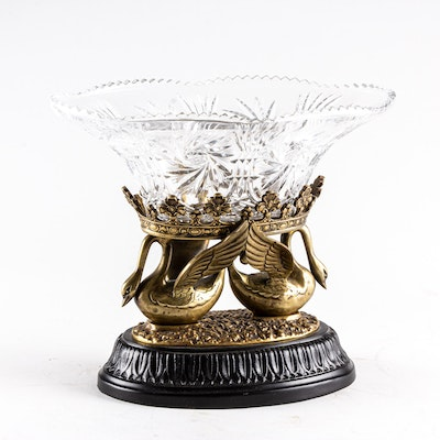 Bronze and Crystal Swan Vase