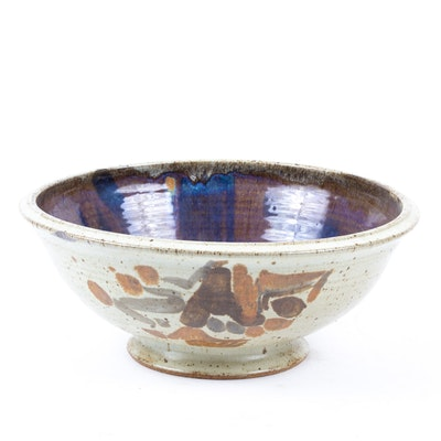 Thrown Stoneware Centerpiece or Fruit Bowl, Contemporary