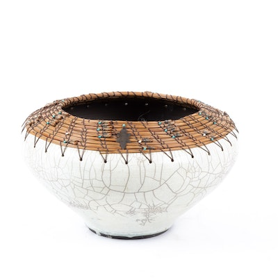 Sayers Edwards White Crackle Raku Fired Centerpiece Bowl with Cane and Bead Rim