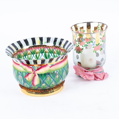 "MacKenzie-Childs ""Alsameer"" Vase and ""Floral Rose"" Hurricane"