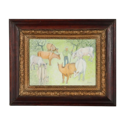 Oil Painting of Cows and Farmer