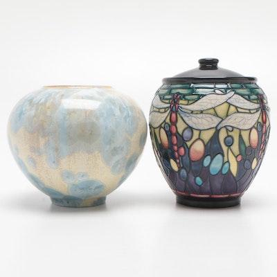 Moorcroft Ceramic Dragonfly Lidded Jar and Smyth Crystalline Glazed Jar