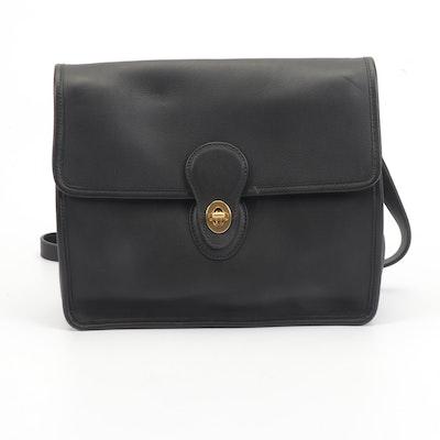 Coach Black Leather Flap Front Bag