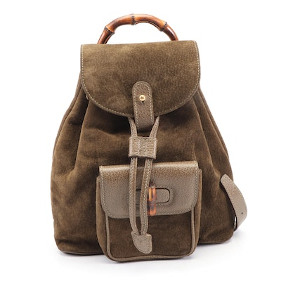 Gucci Brown Suede Backpack Purse Trimmed in Leather with Bamboo Handle and Clasp
