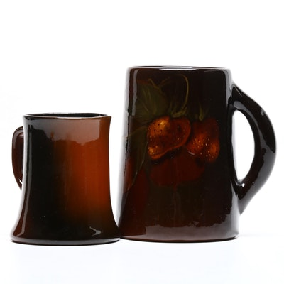 "Roseville Earthenware ""Rozane"" Mug and Weller ""Louwelsa"" Mug, Early 20th Century"
