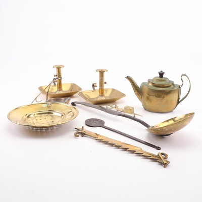 Brass and Iron Cooking Tools, Chambersticks and More, Late 18th and 19th Century