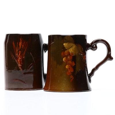 "Weller Earthenware ""Louwelsa"" Mug and Roseville ""Rozane"" Mug, Early 20th Century"