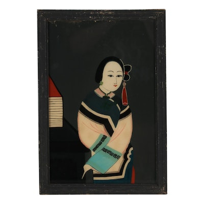 Chinese Reverse Glass Portrait Painting
