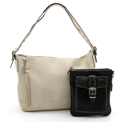 Coach Beige Pebbled Leather Hobo and Black Leather Bag with Contrast Stitching