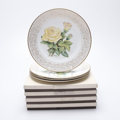 """Boehm """"Rose"""" and """"Life's Best Wishes"""" Porcelain Collector Plates"""