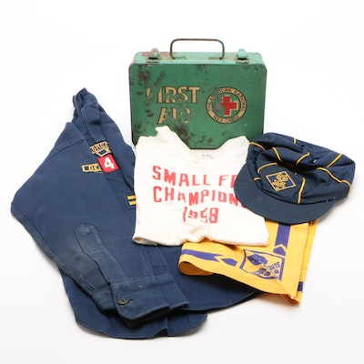 Cub Scout Apparel, Children's T-Shirt, and Metal First Aid Kit, Mid-20th Century