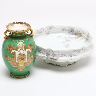 Royal Crown Derby Porcelain Vase and Haviland & Co. Porcelain Centerpiece