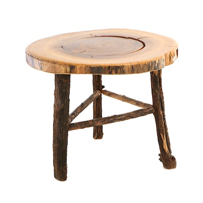 Adirondack Style Log Side Table with Cherrywood Slab Top