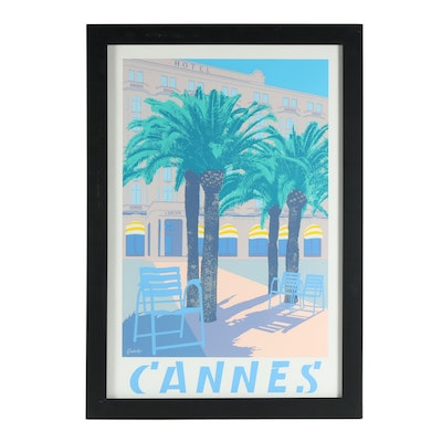 """Quentin King Serigraph Poster """"Cannes"""""""