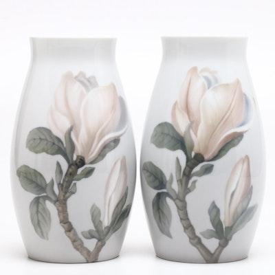 """Bing & Grøndahl Porcelain """"Magnolia"""" Vases"""