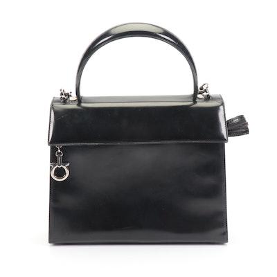 Salvatore Ferragamo Black Patent Leather Shoulder Bag