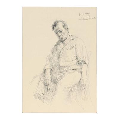 Pino Daeni Portrait Charcoal Drawing