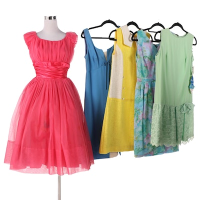 Sleeveless Dresses Featuring Organza, Lace, Taffeta and Voile, 1960s Vintage