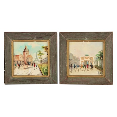 Oil Painted Tiles of French Street Scenes