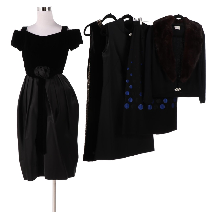 Little Black Dresses, Embroidered Skirt, Cardigan and Faux Fur Collar, Vintage