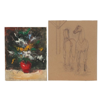 George Schwacha Still Life Oil Painting and Graphite and Ink Sketch of Horses