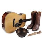 Epi Acoustic Guitar, Acme Cowboy Boots, Cast Iron Kettle, and Huntsman Knife