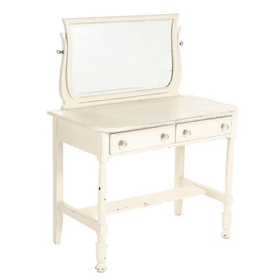 William and Mary Style Cream Painted Wooden Vanity Table