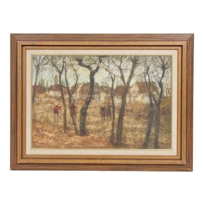 Genre Landscape Gouache Painting