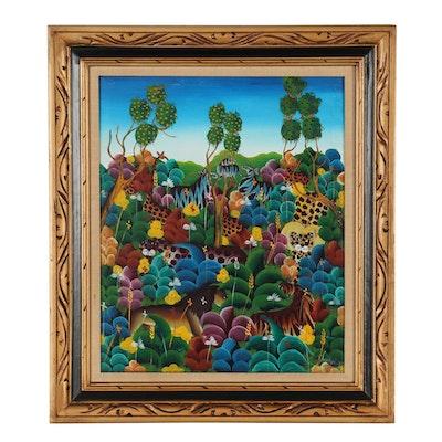 Haitian Folk Art Acrylic Painting of Animals