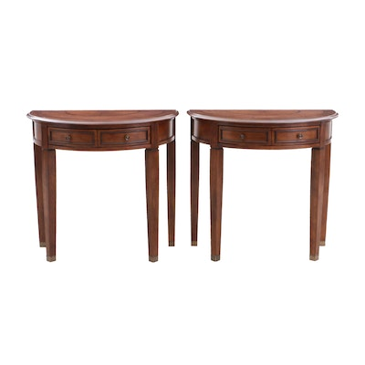 Pair of Federal Style Wood Demi-Lune Hall Tables