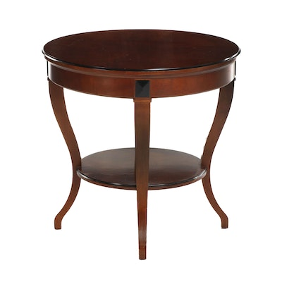 Contemporary Mahogany-Stained and Parcel-Ebonized Two-Tier Side Table