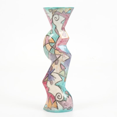 Harris-Cies Studio Thrown and Altered Earthenware Cubist Style Vase, 1995