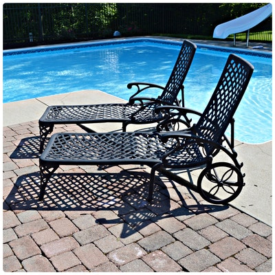 Cast Aluminum Chaise Lounge Chair, Pair, Contemporary