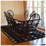 Oak Trestle Dining Table and Six Windsor Style Chairs, Contemporary