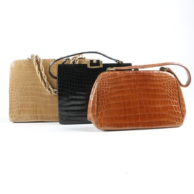 Crocodile Bags Including Grimaldi G Crest Paris Handbag, 1960s Vintage
