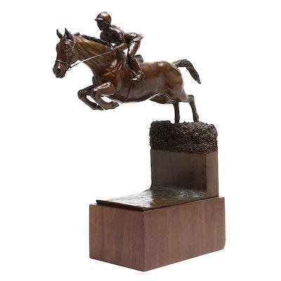Metz Castleberry Steeplechase Horse Racer Cast Bronze Sculpture, Circa 1985