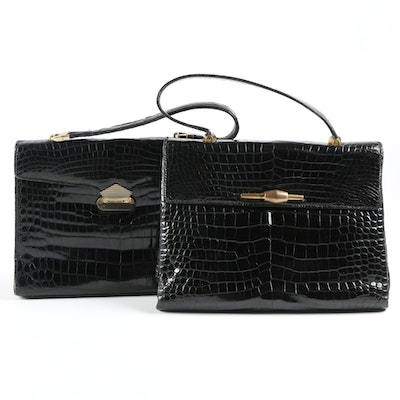 Crocodile Handbags in Black with Locking Clasps, 1960s Vintage