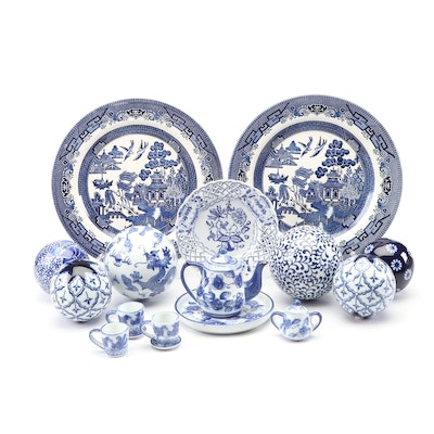 "Churchill ""Willow"" and Other Blue and White Porcelain Decor"