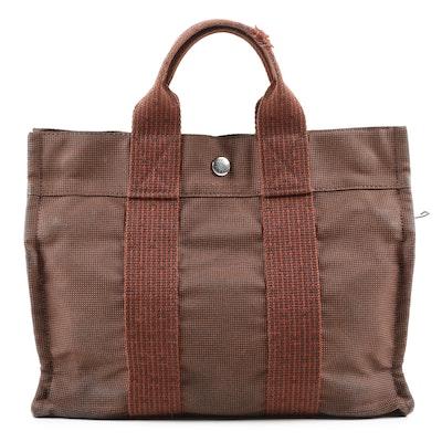 Hermès Herline PM Brown Canvas Tote Bag