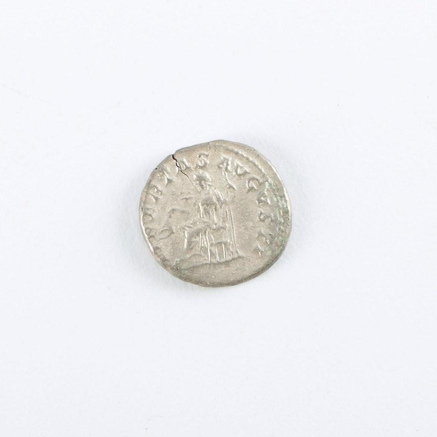 Ancient Roman Silver Imperial Elagabalus AR Denarius, ca. 218-222 A.D.