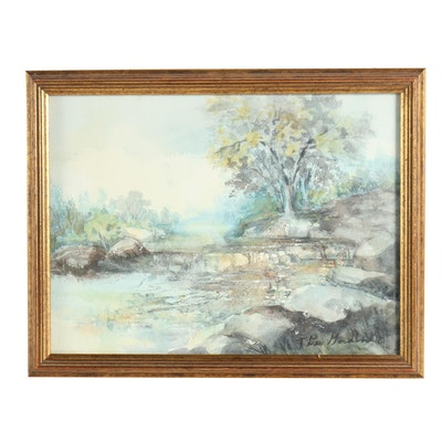 Idyllic Landscape Watercolor Painting