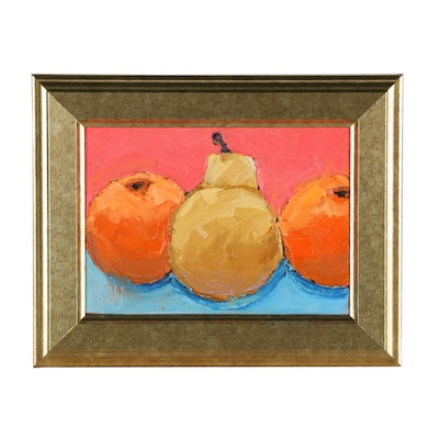 """Kenneth John Pugh Oil Painting """"Two Oranges and Pear"""""""