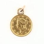 1853 Liberty Head $1 Gold Coin Pendant